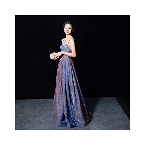 Jucaiyuan Lila Abendkleid, Feminines Partykleid, Elegantes Straps-Maxikleid (Farbe : [Spray Gold] Romantic Purple, Size : S) - Spitzen Rock Trägerlosen Brautkleid