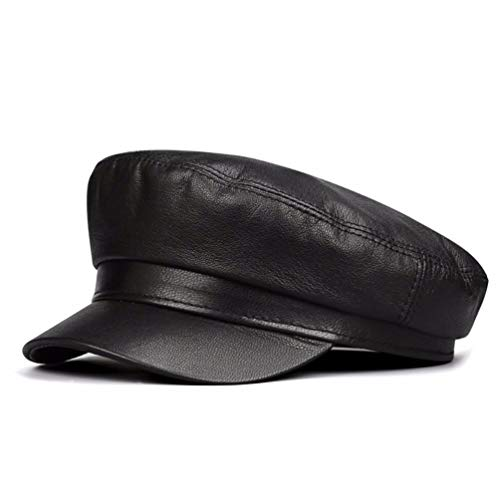 ERLINGSAN-PM Herren Herbst- und Winterhüte Navy Hut lässig Lederhut Winter Gehörschutz warme Mütze Flache Hut militärische Mütze, (57-59 cm), schwarz