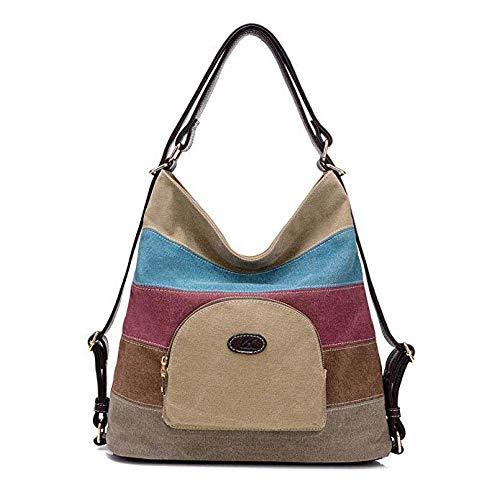 Gestreifte Damen Handtasche (FTFTFTF Umhängetasche, Frauen-Rucksack Leinwand Multicolor gestreifte Schultertasche Damen Handtasche mit großer Kapazität,1)