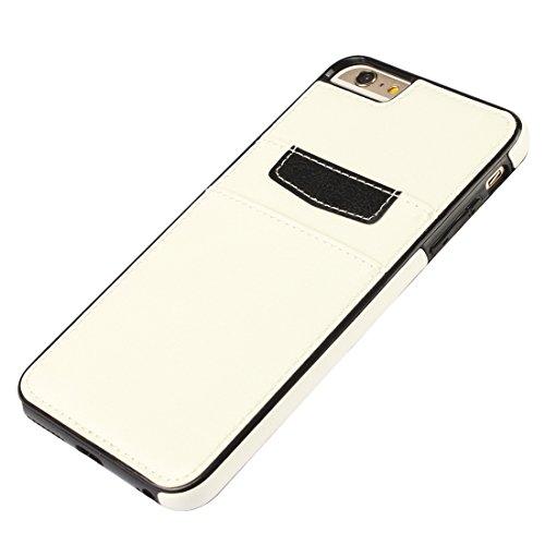 """MOONCASE iPhone 6S Plus Étui en Cuir Slim Fit Housse Coque de protection Flexible Case pour iPhone 6 Plus / 6S Plus 5.5"""" - avec Card Slot Blanc Blanc"""