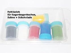 Pulverfarben 6 x 15ml fettlöslich für Schokolade Teige Fondant rainbowcolours