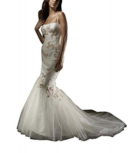 GEORGE BRIDE Sexy Meerjungfrau Tuell ueber Satin Kapelle Zug Brautkleider Hochzeitskleider mit Stickerei Applikationen Elfenbein