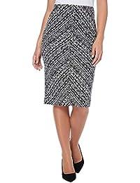 44587cc524 Roman Originals Women's Textured Chevron Pencil Skirt - Ladies Everyday  Work Office Smart Casual Knee Length Elasticated Printed Stretch…