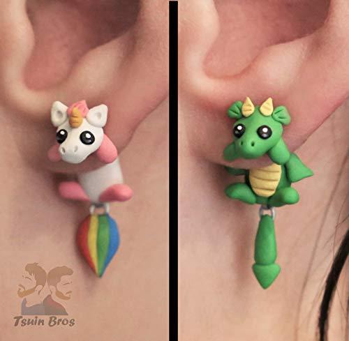 Einhorn oder Drache Ohrringe. Aus Fimo gefertigt. Paarweise verkauft. - Paarweise
