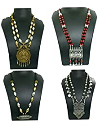Go Oxidised German Silver/Fashion/Antique Jewellery Combo Necklace Set For Women And Girls