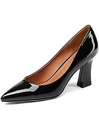 230ac3d6 HOESCZS A Estrenar Sólido Cuadrados de Cuero Genuino Tacones Altos Zapatos  de la Mejor Calidad Mujer