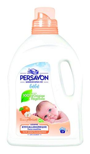 PERSAVON Lessive Bébé au Lait d'Abricot 27 Lavages 1,485 L - Lot de 2