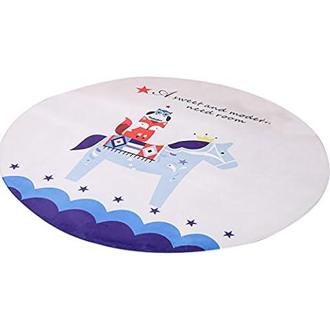 LvRao Tappeti per la Casa Carina Playmats Bambini Camera da Letto dei Cartoni Animati Rotonda Tappetini Moquette Cavallo Diametro: 70cm
