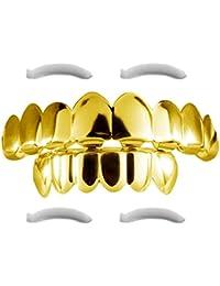 Grillz Fundas para dientes chapadas en oro de 24 quilates (incluye 2 barras de moldeado)