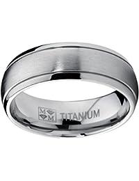 Ultimate Metals Co. 7MM Bague Titane Poli / Mat Unisex