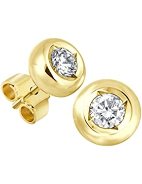 Diamant Ohrstecker Lupenrein 0, 30 ct 585 14 Kt Gold bauchige Fassung Brillant Schliff