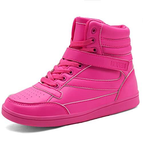 UBFEN Damen Sneaker Wedges Keilabsatz Schuhe High Top Stiefeletten Sportschuhe Klettverschluss Freizeitschuhe Turnschuhe Stiefel 38.5 EU Pink