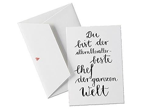 Du bist der allerallerallerbeste CHEF der Welt, Spruch Glückwunschkarte Geburtstagskarte Postkarte oder allgemeine Grußkarte als Dankeschön für den Chef klassisch mit Herz -