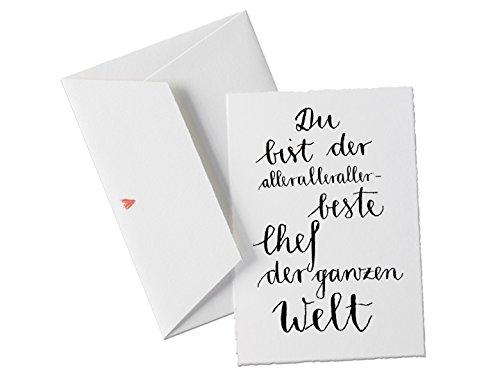 Du bist der allerallerallerbeste CHEF der Welt, Spruch Glückwunschkarte Geburtstagskarte Postkarte oder allgemeine Grußkarte als Dankeschön für den Chef klassisch mit Herz - Umschlag (Chef Preis)