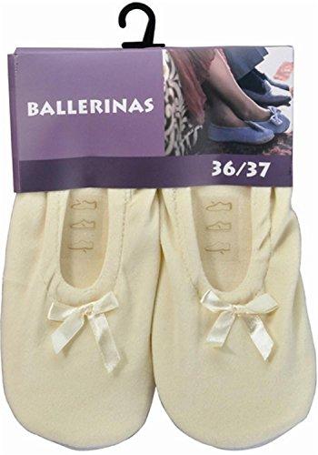 Damen Ballerinas mit echter Rindsledersohle als Hausschuh oder für leichten Sport Farbe Wollweiß Größe 36/37