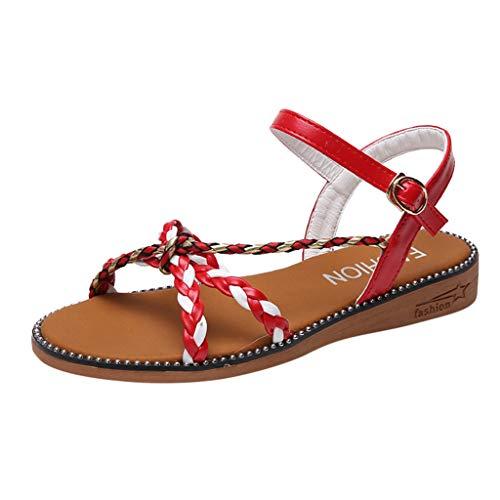 TWISFER Sandalen Damen Sandaletten Sommer Schuhe Knöchelriemchen Sommersandalen Geflochten Plateau Sandaletten Krawatte Sandalen Frauen Outdoor -