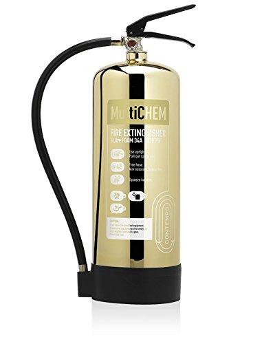 designer- oro lucido 6litri multi Chem estintore. CE. Tipi di fuoco include classe F (cucinare olio e grasso), classe A (legno, carta, stoffa, ecc.) e classe B (liquidi infiammabili). Testato a 35kV, sicuro se usato su Live apparecchiature elettriche.