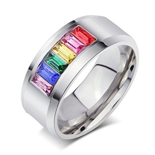 AnazoZ Customize Edelstahl Ringe Für Herren Damen Hochzeit Bands Crystal Rainbow Gay BandsSize ()