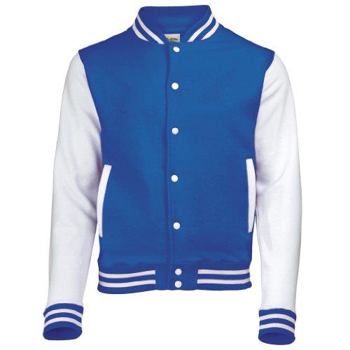 AWDis Just hottes Men's Elle possede Letterman Varsity Veste de baseball - Royal Blue / White