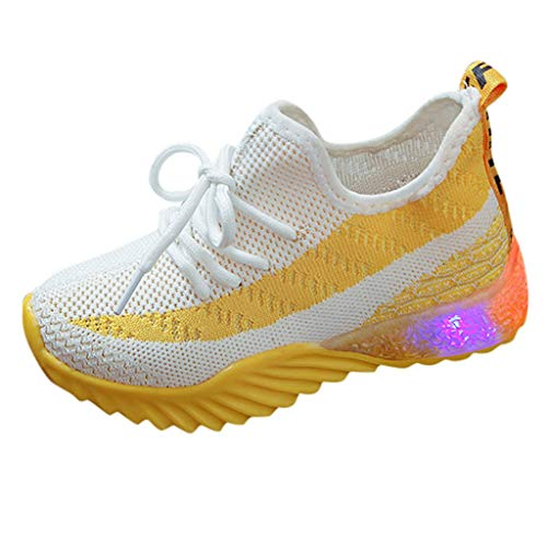 Unisex Bambini Scarpe Luminosi Sneakers con Le Luci Accendono Scarpe Sportive - Running Sneakers Traspirante Basso Ultraleggero Sport Baskets Shoes Stivaletto(24,Giallo)