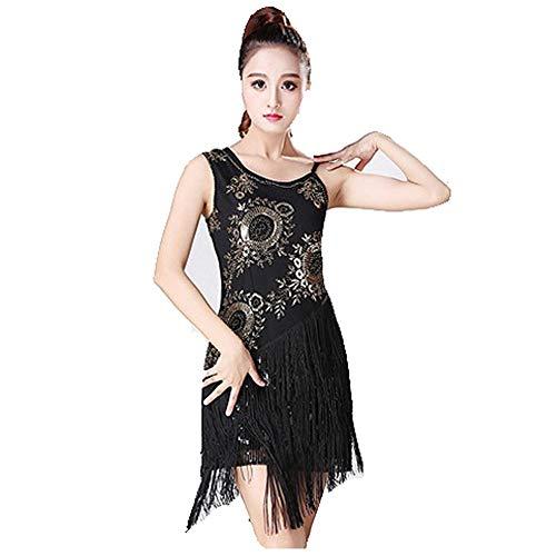 Latin Dance Kleid Frauen Dancewear Pailletten Fransen Quasten Ballsaal Samba Tango Latin Dance Dress Wettbewerb Kostüme Themen Party Swing Dress (Farbe : Schwarz, Größe : XL)