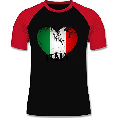 EM 2016 - Frankreich - Italien Herz Vintage - zweifarbiges Baseballshirt für Männer Schwarz/Rot