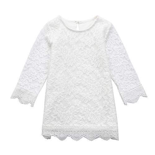 feiXIANG Kleinkind Röcke Kinder mädchen Mädchen Prinzessinnenkleid Weihnachten Babykleidung Kleider Outfits Mädchen Hemdkleid kleiden für Kinder (120, Weiß 2) (Asiatischen Prinzessin Kleinkind Mädchen Kostüm)