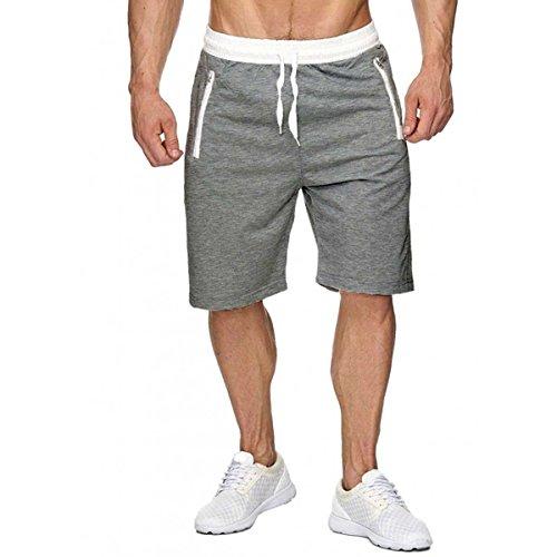 INCERUN herren Sport Joggen und Training Shorts Fitness Fitness Kurze Hose Jogging Hose Bermuda Hellgrau S