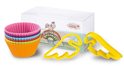 Nici 40974.0 - Einhorn Theodor & Friends Silikon-Muffinförmchen (6 Stück) mit Keksausstecher (2 Stück)