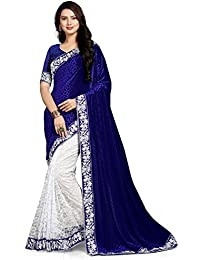 G J Kheni Brand Rich Designer Blue Velvet Saree With Blouse Piece