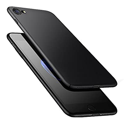 POOPHUNS Cover per iPhone 8/iPhone 7, Custodia per iPhone 8/iPhone 7 in Plastica Dura PC, Ultra Sottile e Anti-Graffio, Cover Ultra Slim per iPhone 8/iPhone 7 Anti Scivolo(4.7 Pollici)-Nero
