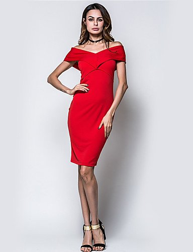 DESY Damen Bodycon Hülle Kleid-Party/Cocktail Klub Urlaub Sexy Street Schick Solide Bateau Mini Ärmellos Polyester Sommer Hohe Hüfthöhe Red