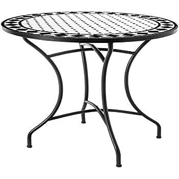 Table de Jardin Ronde 90cm Plateau céramique et Structure Fer Noir ...