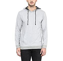 AMERICAN CREW Mens Full Sleeves Grey Melange Hoodie - XL (AC1202-XL)