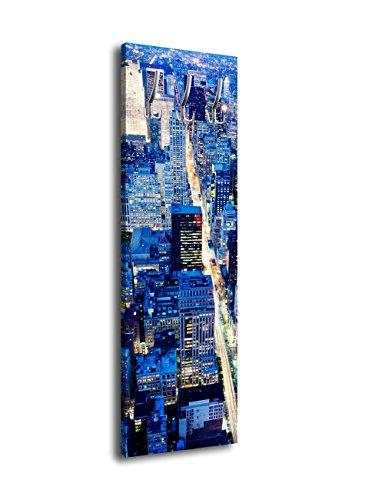 wandmotiv24 Perchero con diseño manhagan bei Nacht G22840x 125cm-Perchero de Pared New York Noche Skyline