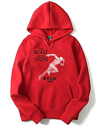 ADRO Unisex Motivation Workout Printed Cotton Hoodies (Red;XX-Large)
