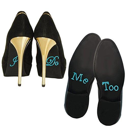 Oblique Unique® Schuhsticker Set Strass - I Do & Me Too - Brautpaar Hochzeit Verlobung (Türkis)