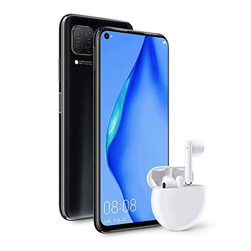 HUAWEI P40 lite - Smartphone con pantalla de 6.4' FullView (Kirin 810, 6GB de RAM, 128GB de ROM, Cuádruple cámara de 48MP,8MP,2MP,2MP), carga rápida de 40W, Batería de 4200 mAh, Auriculares Freebuds 3