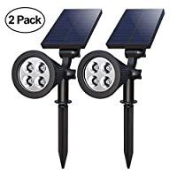 LED Solar Spotlight,TeqHome Solar Light 4 LEDs Spotlight Auto on/Off 180°Angle Adjustable IP65 Waterproof Solar Powered Outdoor Landscape Light Security for Garden,Patio,Driveway,Pond,Deck,Pack of 2