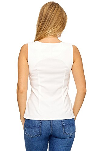 JillyMode Elegant Top mit Strass one Size 34-38 A1061 A1061-Weiß