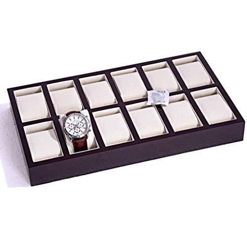 SODDEY 12 Uhr Display Box, Holz Schmuck Aufbewahrungskoffer Uhr Tray Organizer ohne Deckel, 34 * 19,5 * 4 cm (12 Tray Paint)
