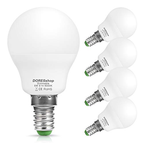 DORESshop SES E14 dimmbare 5 W LED Golfball-Leuchtmittel P45, 40 W kleine Edison-Schraube, entspricht 6000 K (Tagesweiß), 450 lm, 240 ° Abstrahlwinkel, LED-Leuchtmittel, 4 Stück -