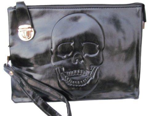 Noir Doux Sac à main pochette simili cuir crâne gothique punk pour femmes de qualité Sac à main crâne ciselé SAC POCHETTE - par fat-catz