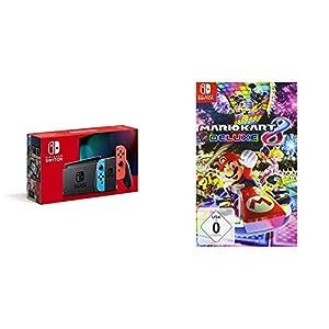Nintendo Switch Konsole – Neon-Rot/Neon-Blau (neue Edition) + Mario Kart 8 Deluxe [Nintendo Switch]