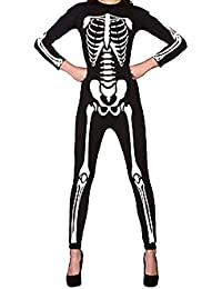 Fashion Essentials-Women Langarm Halloween Skeleton Rundhals Ausschnitt