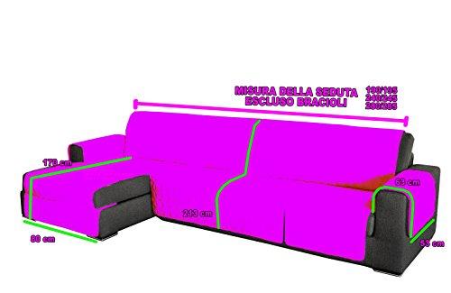 Confezioni Giuliana COPRIDIVANO ANGOLARE Trapuntato DIVANI con PENISOLA Tinta Unita Grigio (190-195 cm)
