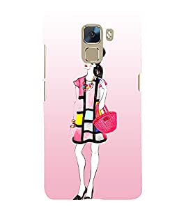 Shopping Girl Fashion 3D Hard Polycarbonate Designer Back Case Cover for Huawei Honor 7
