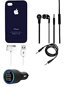 NIROSHA Cover Case Car Charger Headphone USB Cable for Apple iPhone 4s - Combo