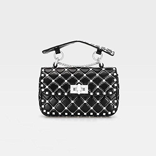 YAN Womens Tote Bags Neue Trendige Damen Handtaschen Schultertasche Kette Strap Bag, für Frauen aus Echtem Leder Tasche (Farbe : Schwarz)