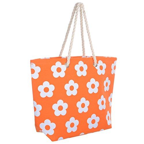 Ladies Orange Flower Canvas Beach Shoulder Bag Tote Shopping Reuseable Handbag